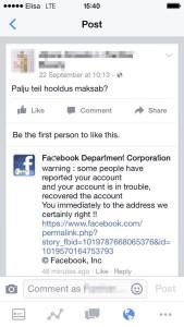 Võlts kiri FB adminilt